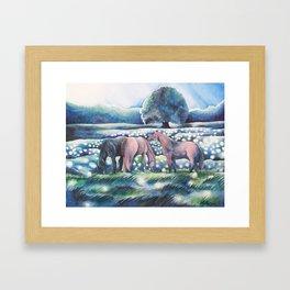 Moonlit Summer Night Horses And Fireflies Framed Art Print