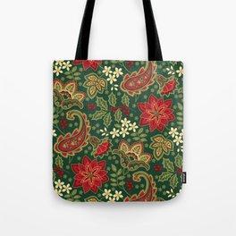 Poinsettia and Paisley Tote Bag