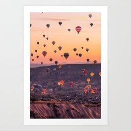 Colourfull Hot Air Ballons landsxaping from Cappadocia Art Print