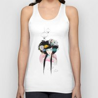 pink Tank Tops featuring Nenufar Girl by Ariana Perez