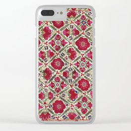Bokhara Nim Suzani  Antique Uzbek Embroidery Print Clear iPhone Case