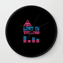 Lost in techno music design Wall Clock