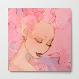 Pink Pensive Metal Print
