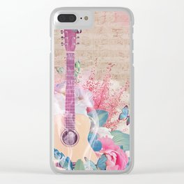 Floral Guitar Clear iPhone Case