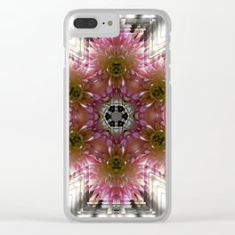 Floral Abstract Pretty In Pink and Silver Clear iPhone Case