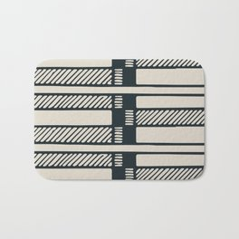 Lines, Seams and Buckles, (Charcoal and Cream) Bath Mat