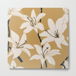 Amaryllis Floral Line Drawing, Beige and Navy on Yellow Ochre Metal Print