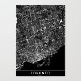 Toronto Black Map Canvas Print