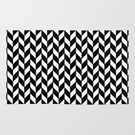 Black Herringbone - Baby Stimulation Pattern Rug