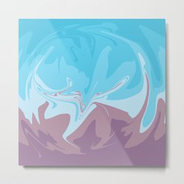 Liquid Blue and Purple: Funky Pattern Metal Print