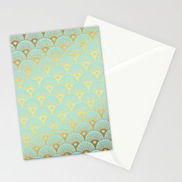 Art Deco Mermaid Scales Pattern on aqua turquoise with Gold foil effect Stationery Cards
