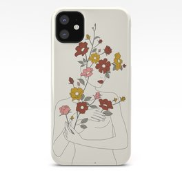 Colorful Thoughts Minimal Line Art Woman with Wild Roses iPhone Case