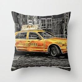 Yellow Taxi Cab Throw Pillow