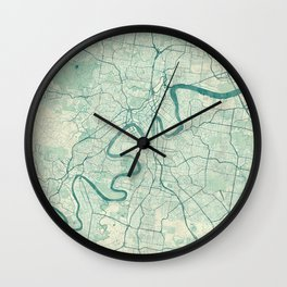 Brisbane Map Blue Vintage Wall Clock