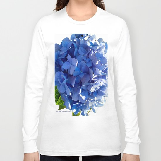 Blue Hydrangia Flower Blossom Long Sleeve T-shirt