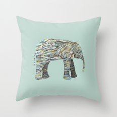 Elephant Paper Collage in Gray, Aqua and Seafoam Throw Pillow