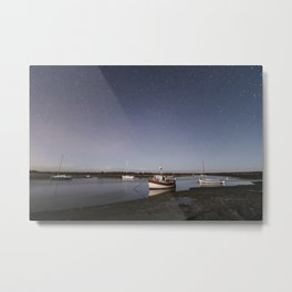 Boats under stars on a moonlit night. Overy Staithe, Norfolk, UK. Metal Print