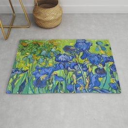 Vincent Van Gogh Irises Painting Detail Rug
