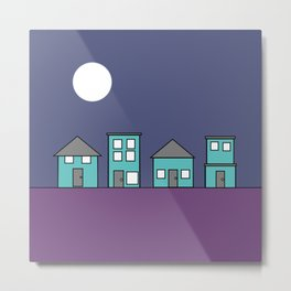 Dark Sky - Row of Houses Metal Print