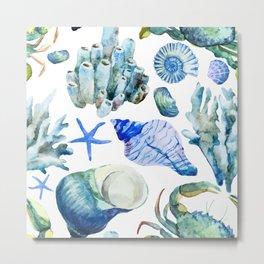 Sea Life Pattern 05 Metal Print