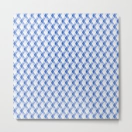 3D Optical Illusion: Blue Icosahedron Pattern Metal Print