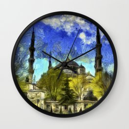 Blue Mosque Istanbul Van Gogh Wall Clock