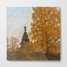 Village Church golden autumn Metal Print
