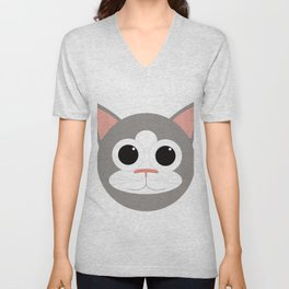 Grey & White Cat Unisex V-Neck