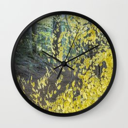 A Splay of Fall Leaves on a Forest Trail Wall Clock