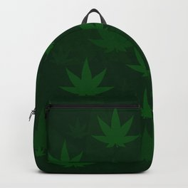 Pattern with cannabis leaf shapes on a green background. Leaf of a marijuana plant. Backpack