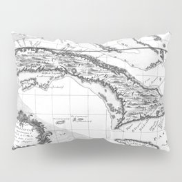 Vintage Map of Cuba and Jamaica (1763) BW Pillow Sham
