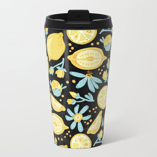 Lemon Pattern Black Metal Travel Mug