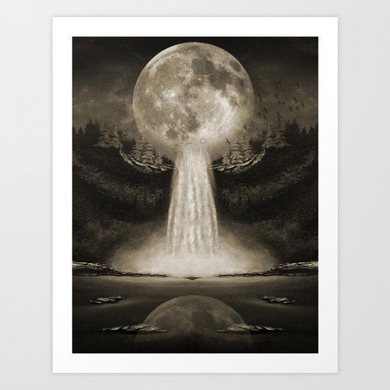 Waterfall Moon Sepia Art Print