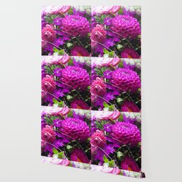 Pink flower bouquet #1 #decor #art #society6 Wallpaper