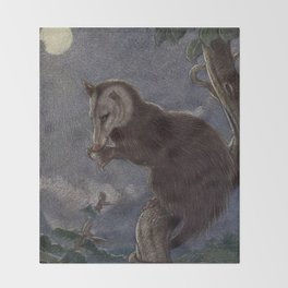 Vintage Possum Painting (1909) Throw Blanket