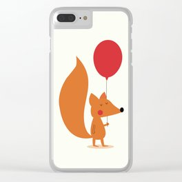 Fox With A Red Balloon Clear iPhone Case