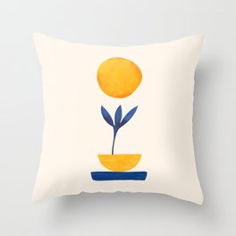 Sunny Sprout / Abstract Shapes Throw Pillow