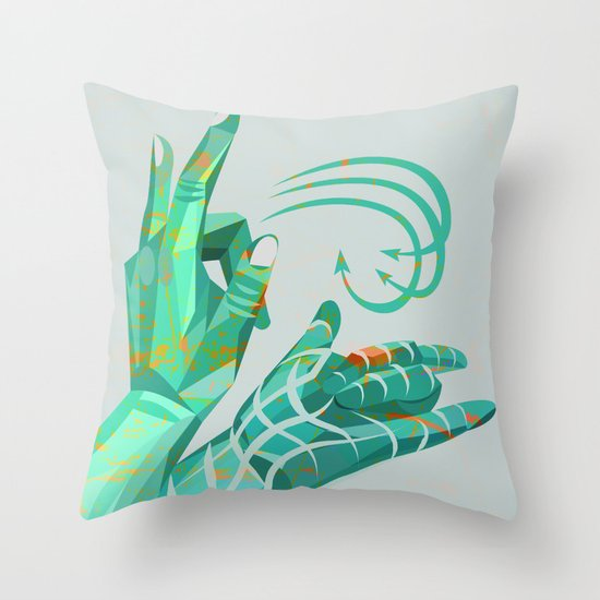 hand-shape aesthetic Throw Pillow