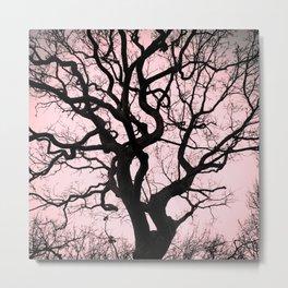 Tree Silhouette - Pink Metal Print