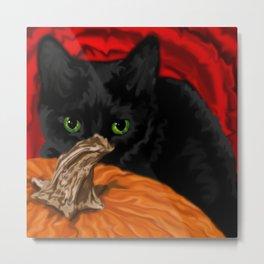 Halloween Cat Painting Metal Print