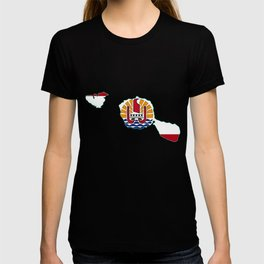 Tahiti Map with Tahitian Flag T-shirt