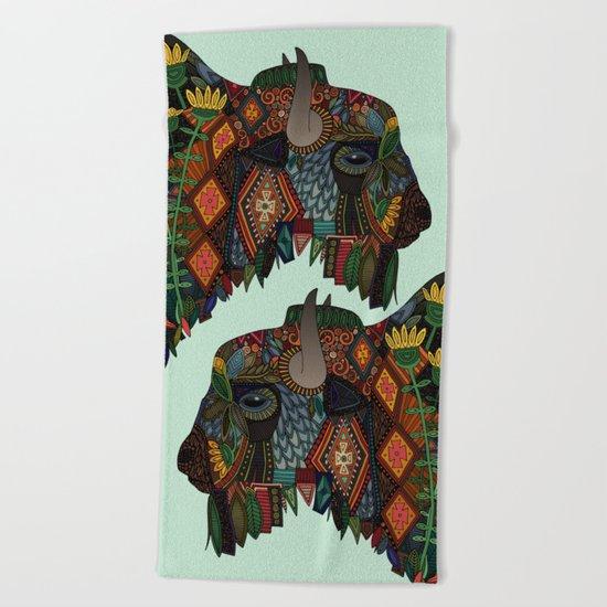 bison mint Beach Towel