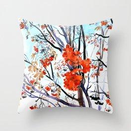 rowan tree in winter Throw Pillow