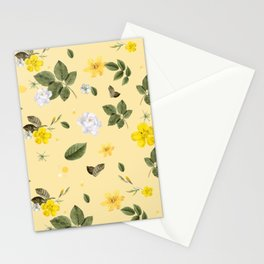 Yellow Flowers & White Roses 5 Stationery Cards