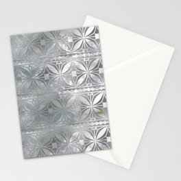 Silver glitter pattern on mother of pearl Stationery Cards
