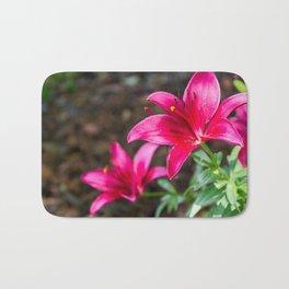Hot Pink Flowers Bath Mat