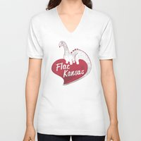 kansas V-neck T-shirts featuring Flat Kansas by Snorting Pixels