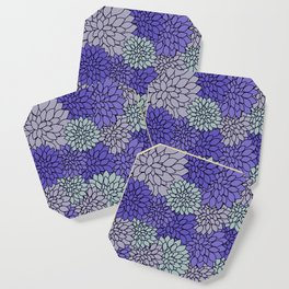 Periwinkle Gray Dahlias Coaster