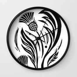 Thistle - Black and White Wall Clock
