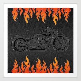 Motorcycle & Orange Flames Art Print